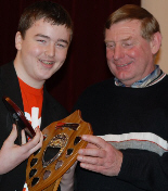 Lewis Young, Handicap Trophy champion, with (right) sponsor Ed Turner